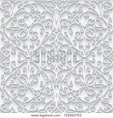 Cutout paper lace texture, white background, swirly seamless pattern in neutral color