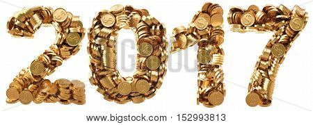 new 2017 year from the golden coins. isolated on white. 3D illustration.