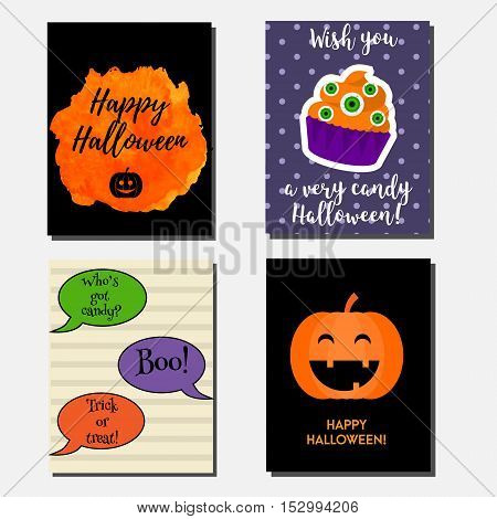 Halloween vector vertical banners design template. Party invitations design template. Greeting cards with cupcake pumpking speech bubbles