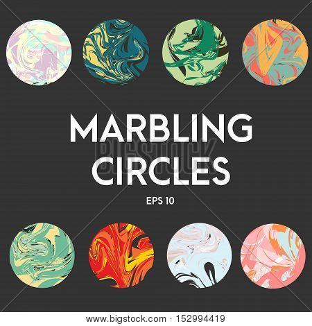 Abstract artistic fashion vector circles with marbling effect. Illustration cover design elements trendy stickers round scrapbooking elements. Twisted color mix style