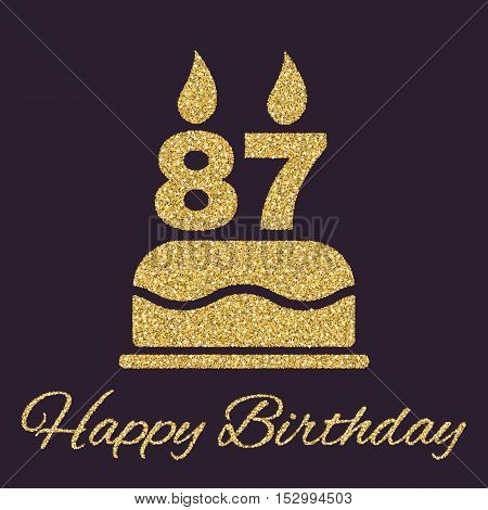 The birthday cake with candles in the form of number 87 icon. Birthday symbol. Gold sparkles and glitter Vector illustration