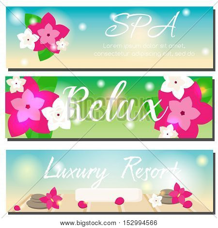 SPA horizontal banners with beach summer background orchid flowers and spa stones. Beauty salon luxury hotel resort advertising. Vector illustration gift voucher design template