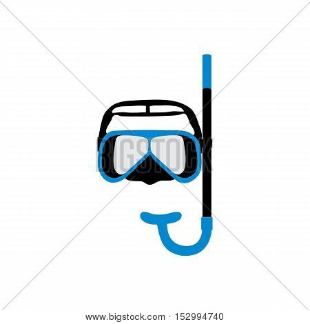 Stylized Icon Of A Colored Mask And Tube For A Scuba Diving On A White Background