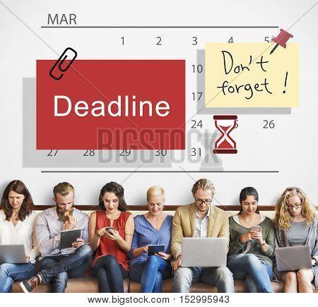 Deadline Note Calendar Planner Concept