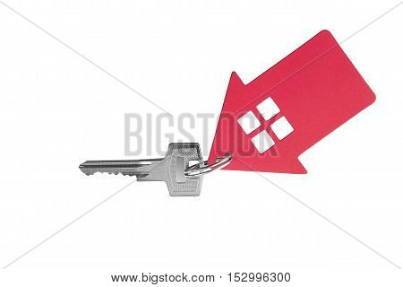 Key and key fob in the shape of a house on a white background.