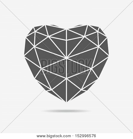 Gray heart icon. Simple triangular sign of the heart isolated on white background. Symbol of the heart. Symbol of the love. Vector illustration.