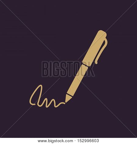 The signature icon. Pen and undersign, underwrite, ratify symbol. Flat Vector illustration