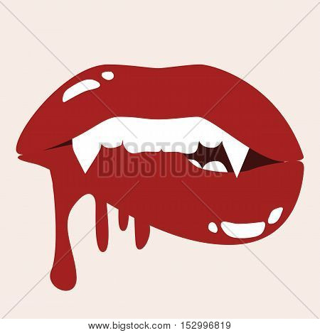 Sexy Vampire Biting Lips With Blood - Cartoon Halloween Stock Card Vector Illustration
