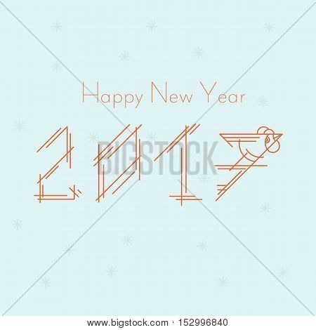 Happy new year 2017. Year of the fire rooster. Vector illustration