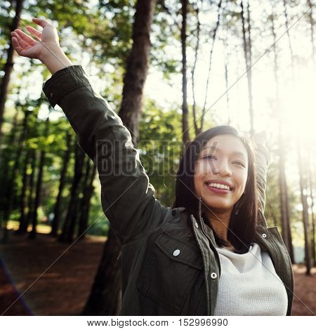 Girl Enjoying Freedom Outdoors Concept