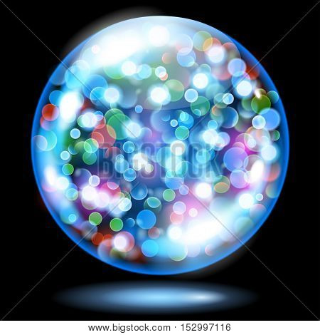Sphere With Sparkles In Light Blue Colors. Used Only On Dark Background