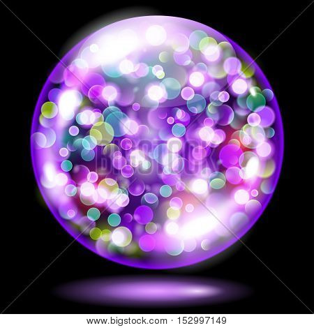Sphere With Sparkles In Violet Colors. Used Only On Dark Background