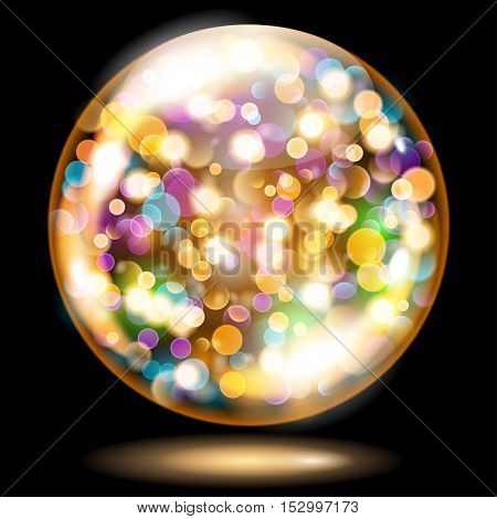 Sphere With Sparkles In Yellow And Orange Colors. Used Only On Dark Background