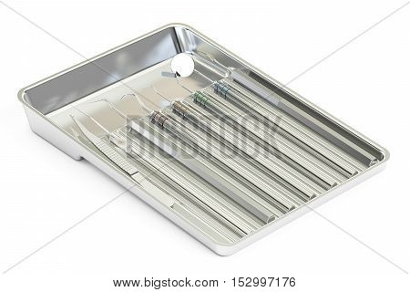 dental instruments in metallic tray 3D rendering