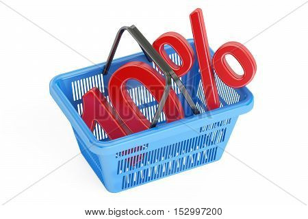 Discount and sale 10% concept 3D rendering isolated on white background