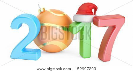 Happy New Year 2017 and Marry Christmas concept 3D rendering isolated on white background
