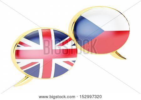Speech bubbles English-Czech conversation concept. 3D rendering