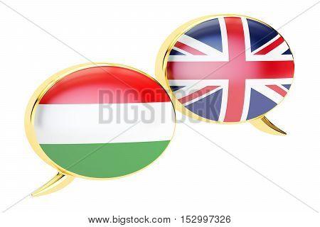 Speech bubbles English-Hungarian conversation concept. 3D rendering
