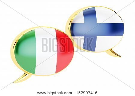 Speech bubbles Italian-Finnish translation concept. 3D rendering