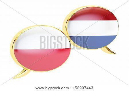 Speech bubbles Polish-Dutch translation concept. 3D rendering