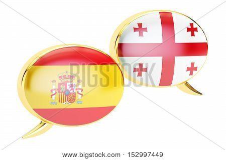 Speech bubbles Spanish-Georgian translation concept. 3D rendering