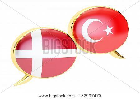 Speech bubbles Turkish-Danish conversation concept. 3D rendering