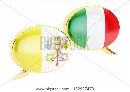 Speech bubbles Vatican-Italian conversation concept. 3D rendering