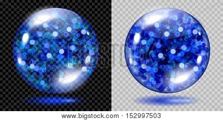 Two Transparent Spheres With Blue Sparkles. For Use On Dark And Light Background