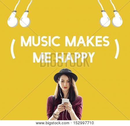 Music Life Happy Earphones Concept