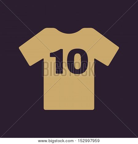 The sports t-shirt with the number 10 icon. Shirt and player symbol. Flat Vector illustration