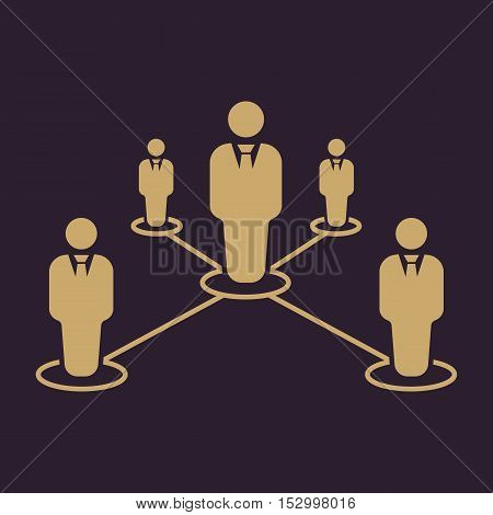 The teamwork icon. Leadership and connection, business teams symbol. Flat Vector illustration