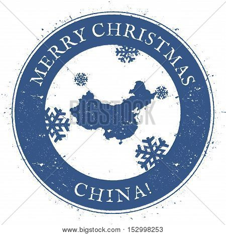 China Map. Vintage Merry Christmas China Stamp. Stylised Rubber Stamp With County Map And Merry Chri