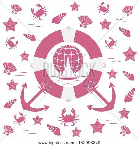 Nice Picture On The Marine Theme: Life Preserver, Anchor, Boat, Wave, Crab, Starfish, Seashells