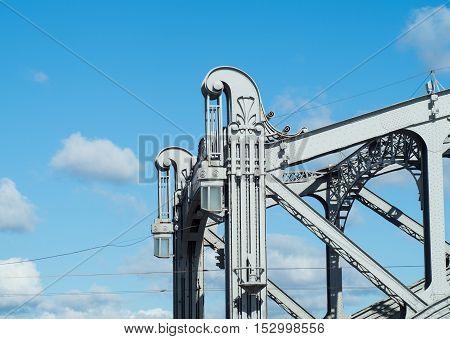 Steel structures of the Bolsheokhtinsky bridge in St. Petersburg