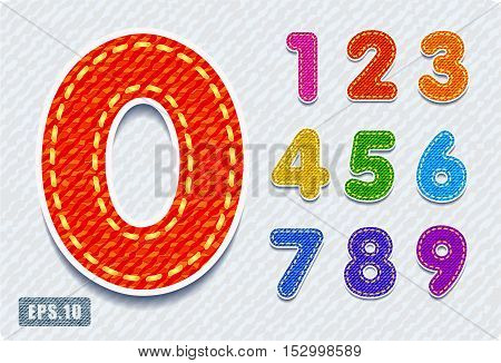 3d Joyful colorful denim jeans numerals. Zero 0 One 1 Two 2 Three 3 Four 4 Five 5 Six 6 Seven 7 eight 8 nine 9.