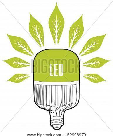 ECO energy concept. Big led lamp. Eco lamp sign