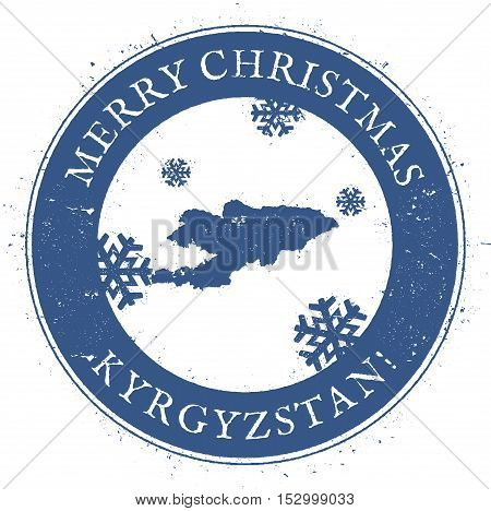 Kyrgyzstan Map. Vintage Merry Christmas Kyrgyzstan Stamp. Stylised Rubber Stamp With County Map And