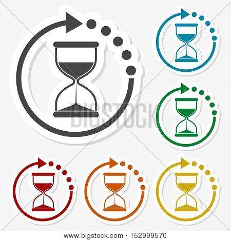 Multicolored paper stickers - Hourglass icon vector