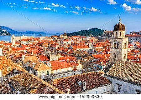 Dubrovnik Croatia. Sunset golden light over Old Town roofs of Ragusa (Duvrovnik).
