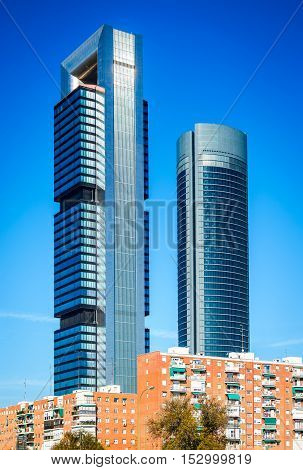 Madrid Spain. Cuatro Torres Business Area financial district skyline in modern Spanish capital city.