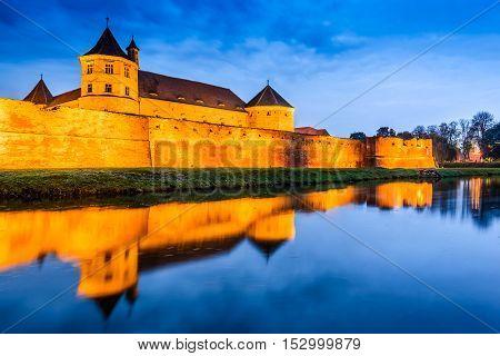 Fagaras Romania. Cloudy scenery with Fagaras Citadel built in Transylvania in XVth century.