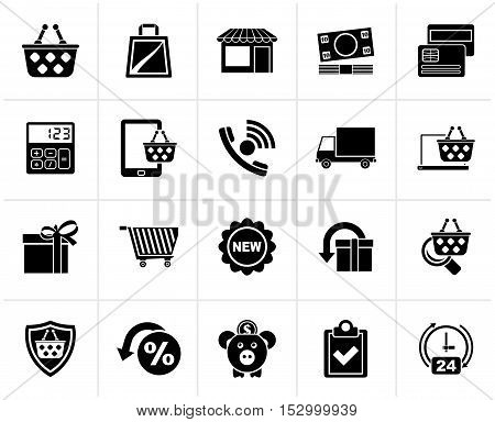 Black on line shop and E-commerce icons - vector icon set