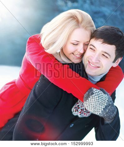 Portrait Happy Young Smiling Couple Having Fun In Winter Day, Cheerful Emotional Woman Hugging Her M