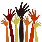 foto of hands up  - Happy hands vector - JPG