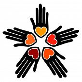 image of hand heart  - United loving hands vector - JPG