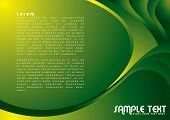 Illustrated colorful background with copy space in green