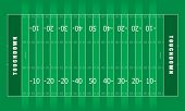 image of football field  - Illustrated american football field with green stripes and white lines - JPG