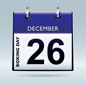 picture of boxing day  - Simple blue and white boxing day calendar icon - JPG