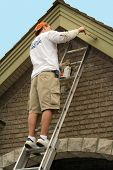 picture of soffit  - Painter painting exterior trim - JPG