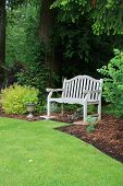 stock photo of manicured lawn  - Wooden bench in a beautiful park garden - JPG